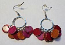 Vintage Pink, Red & Dark Orange Shells W/ Silver Tone Dangling Pierced Earrings