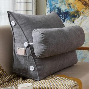 Rückenkissen mit Nackenrolle Keilkissen Fersehkissen Grau 60cm Für Sofa Bett