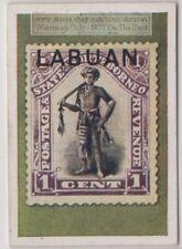 1930s Trade Ad Card - 1894 Labuan North Borneo Dayak Chief  1 Cent Postage Stamp