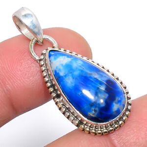 "Lazulite Gemstone 925 Sterling Silver Pendant Jewelry 1.4"" T868"