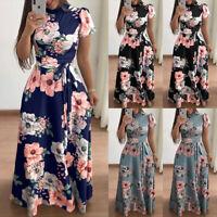 Women Fashion Floral Printed Maxi Dress Short Sleeve Slim Lace-up Muslim Dre '