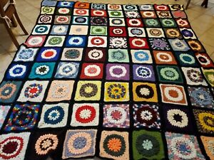 Crochet Afghan Granny Square Handmade King Size Multi Color 118 x 124 inches XL