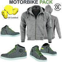 Motorcycle Motorbike CE Armoured Mens Hoodie Full Protective Lined Fleece Jacket