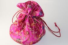 Large Pink Fuchsia Satin Oriental Gift Bag Game Dice Bag Stands Up Counter Pouch