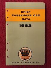Vtg 1962/ Brief Passenger Car Data Booklet Ethyl Gas Oil Advertising Auto Manual