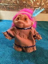 1986 Norfin Dam Native American Indian Troll Doll 5� With Feather * Very Clean*