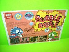 Taito BUBBLE BOBBLE Original NOS 1986 Video Arcade Game Flyer Electrocoin Rare