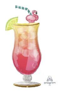 "41"" Flamingle Tropical Drink Mylar FoilBalloon, Hawaiian Party Supply Decoration"