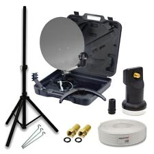 PremiumX HD Camping Mobile SAT Anlage im Koffer LNB 10m Kabel Stecker Stativ 4K