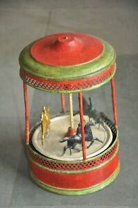 Rare Early German Vintage Wind Up Handpainted Horse Carousel Tin Toy,Germany