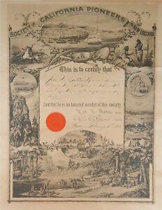 1880s SOCIETY OF CALIFORNIA PIONEERS MEMBERSHIP CERTIFICATE GOLD RUSH / MINING