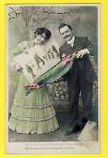 CPA ROMANTIC FRENCH POSTCARD POISSON d'AVRIL APRIL FOOL à Mr A. BOUTIN de St LEU