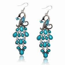Blue Crystal Rhinestone Gem Teardrop Eardrop Peacock Tassel Dangle Hook Earrings