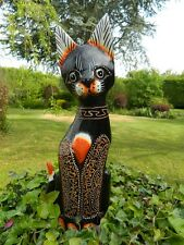 Wooden Cat Carving - Standing Shabby Chic Cat Ornament - Brown 40cm