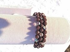 AUTHENTIC Chan Luu  BROWN STONES & Iridescent CRYSTALS Pull Tie Bracelet CL32A