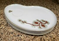 Fukagawa ARITA Lot of 4 Coffee / Tea Plate; Pine Cone Needles Gold Accents Japan