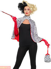 Ladies Deluxe Cruella Devil Fancy Dress Kit Adults 101 Dalmatians Evil Madam Kit