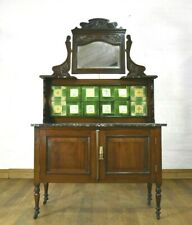 Antique carved Victorian marble top tiled back washstand - vanity dressing table