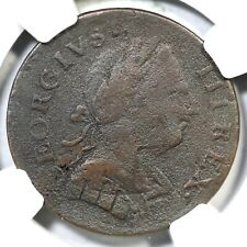 1774 NGC VF Details GEORGIVS Machin's Mills Halfpenny Colonial Copper Coin 1/2p