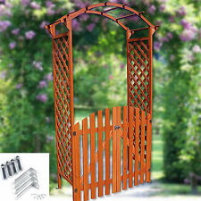 Holz Rosenbogen mit Tür Tor Pergola Torbogen Rankhilfe Spalier Blumenkübel