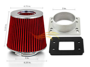RED Cone Dry Filter + AIR INTAKE MAF Adapter Kit For 90-97 Miata MX5 1.6L 1.8L