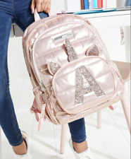NWT Justice Initials A B E K L  Rose Gold Foil Quilted Unicorn Backpack