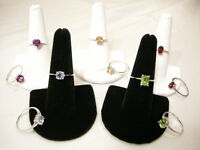 Genuine Gemstone Solitaire Stack Rings, Choice of Size, 925 Sterling Silver, New