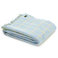 TWEEDMILL TEXTILES KNEE RUG 100%Wool Sofa Throw CHEQUERED CHECK DUCK EGG BLUE