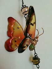 "27""WIND CHIMES Metal Chimes & LARGE Butterfly Orange"