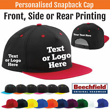 Printed Beechfield Snapback Cap Rapper Unisex Custom Hat Trucker Text Logo B610