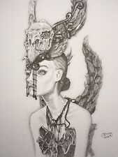 BJD pashapasha Gothique Feather Wing woman portrait type signed original pen&ink a4