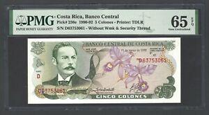 Costa Rica 5 Colones 15-1-1992 P236a Uncirculated Grade 65