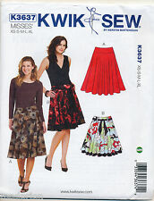 KWIK SEW SEWING PATTERN 3637 MISSES SZ 8-22 CIRCULAR SKIRTS WITH FITTED YOKES
