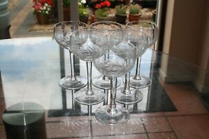 Set of six antique Edwardian cut glass wine glasses