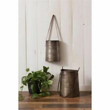 2 Country living new Hanging Tin pails w/ leather handles / Nice