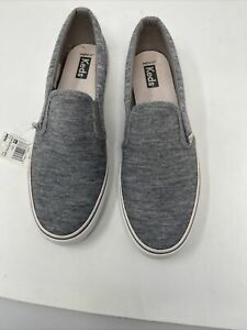 Keds Jump Kick Slip On Jersey Gray Womens Sneakers Shoes Casual Size 9.5 NEW