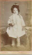 CDV Victorian Girl Standing on Chair Holding a Doll, Hat Coat, Gloves Boots