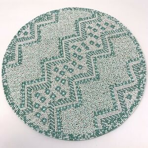 "Kim Seybert Living Glass Beaded Round Pastel Blue White Placemat 15"""