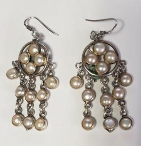 Vintage Sterling Silver Natural Pearl Drop Dangle Hook Earrings