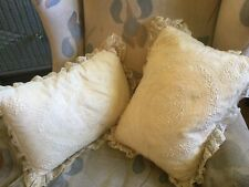 The BEST Antique French Lace Hand Made Pr Pillows Needlework Flowers Satin Lined
