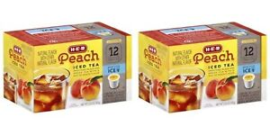 HEB Peach Iced Tea 2 Pack of 12 Single Cups Compatible with Keurig K-cup Brewer