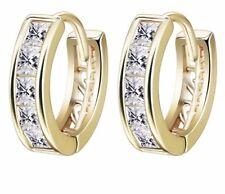 18k Gold Filled Gf Hoops Huggie Cz Inlay Earrings Women's Jewellery Simulated