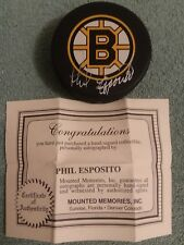 PHIL ESPOSITO AUTOGRAPH SIGNED PUCK Boston Bruins with COA