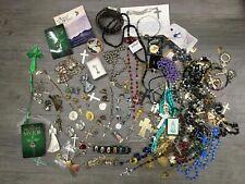 Religious Items Lot Crosses Rosaries Pins Angels
