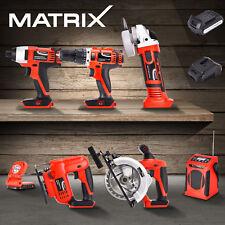 Matrix Battery Cordless Hammer Drill Angle Grinder Circular Saw Power Tool Set