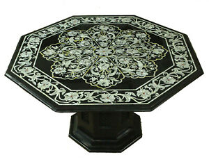 3' Black Octagon Marble Dining Table Fine MOP Floral Inlay Marquetry Decors B697