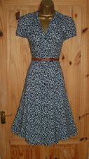Blue white floral vintage WW2 40s 50s repro party shirt tea summer dress size 12