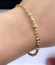 18k Solid Gold Gold Italian Shiny Beaded Oval Bangle 2.25Inches. 6.36 Grams
