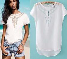 Fashion Women's Summer Vest Top Sleeveless Blouse Lace Tank Top T-Shirt White XL