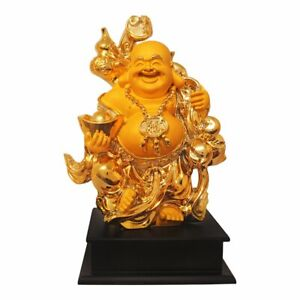 Gold Plated Earthenware Wooden Base FengShui Laughing Buddha Handicraft Idol